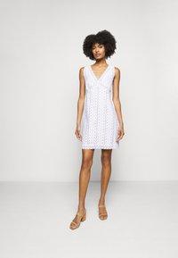 MICHAEL Michael Kors - STRIPED ROPE MINI DRESS - Day dress - white - 1