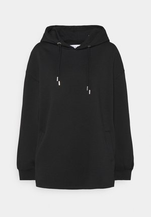 DOUBLE DRAWCORD SIDE SPLIT HOODIE - Collegepaita - black