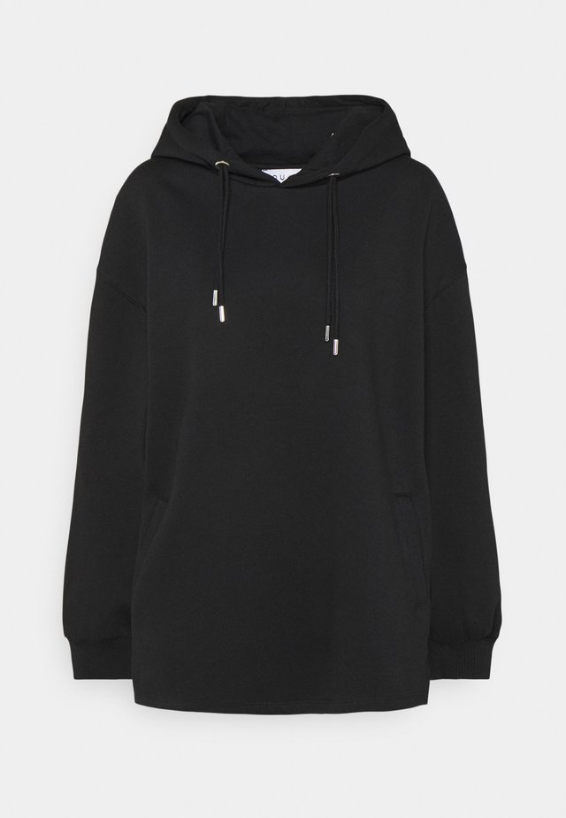 DOUBLE DRAWCORD SIDE SPLIT HOODIE - Sweatshirts - black