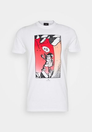 MENS SLIM FIT BOLT JUJU - T-shirt z nadrukiem - white