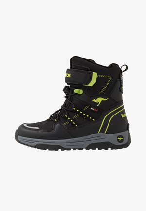 K-NOVICE RTX - Lace-up ankle boots - jet black/lime