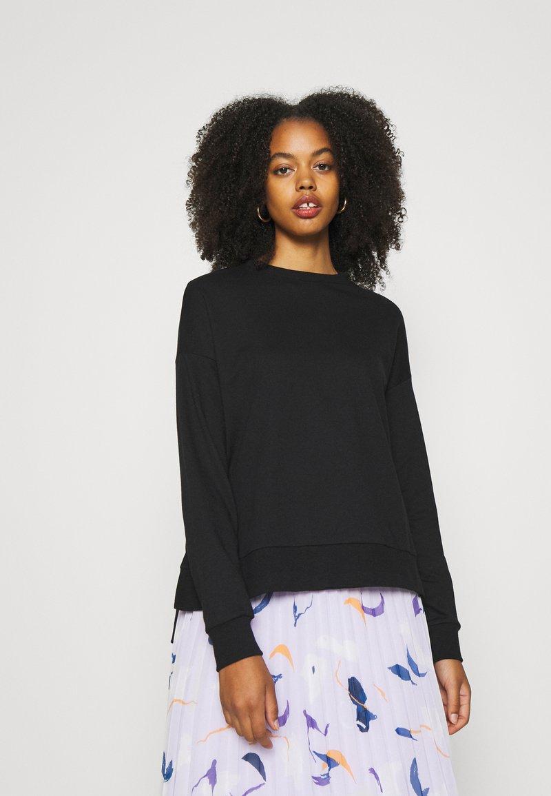 Zign - Slit Sides Oversized Sweatshirt - Sweatshirt - black