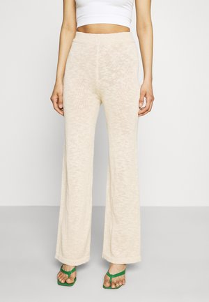 TEXTURED WIDE LEG TROUSERS - Trousers - beige