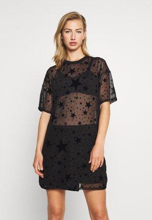 FESTIVAL EXCLUSIVE STAR FLOCK OVERSIZED T SHIRT DRESS - Kjole - black