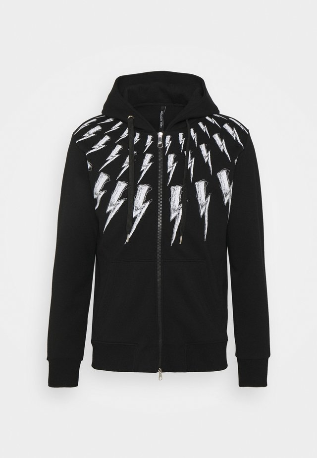 SCRIBBLE FAIR ISLE THUNDERBOLT ZIP UP HOODIE - Felpa aperta - black/white