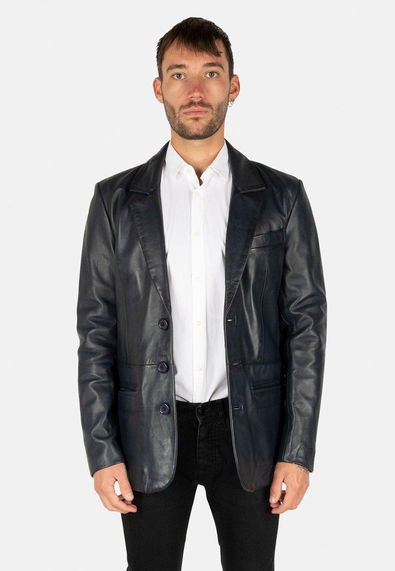 LEATHER HYPE - HYPE BLAZER - Leather jacket - royal blue