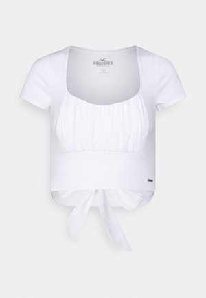 CROP RUCHED BUST BACK TIE - T-shirt print - white
