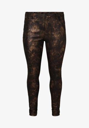 MIT SCHLANGENMUSTER - Trousers - black