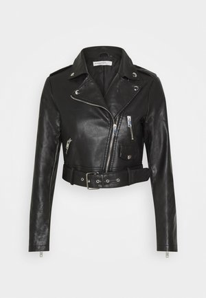 CROPPED JACKET - Keinonahkatakki - black
