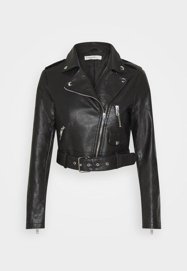 CROPPED JACKET - Faux leather jacket - black