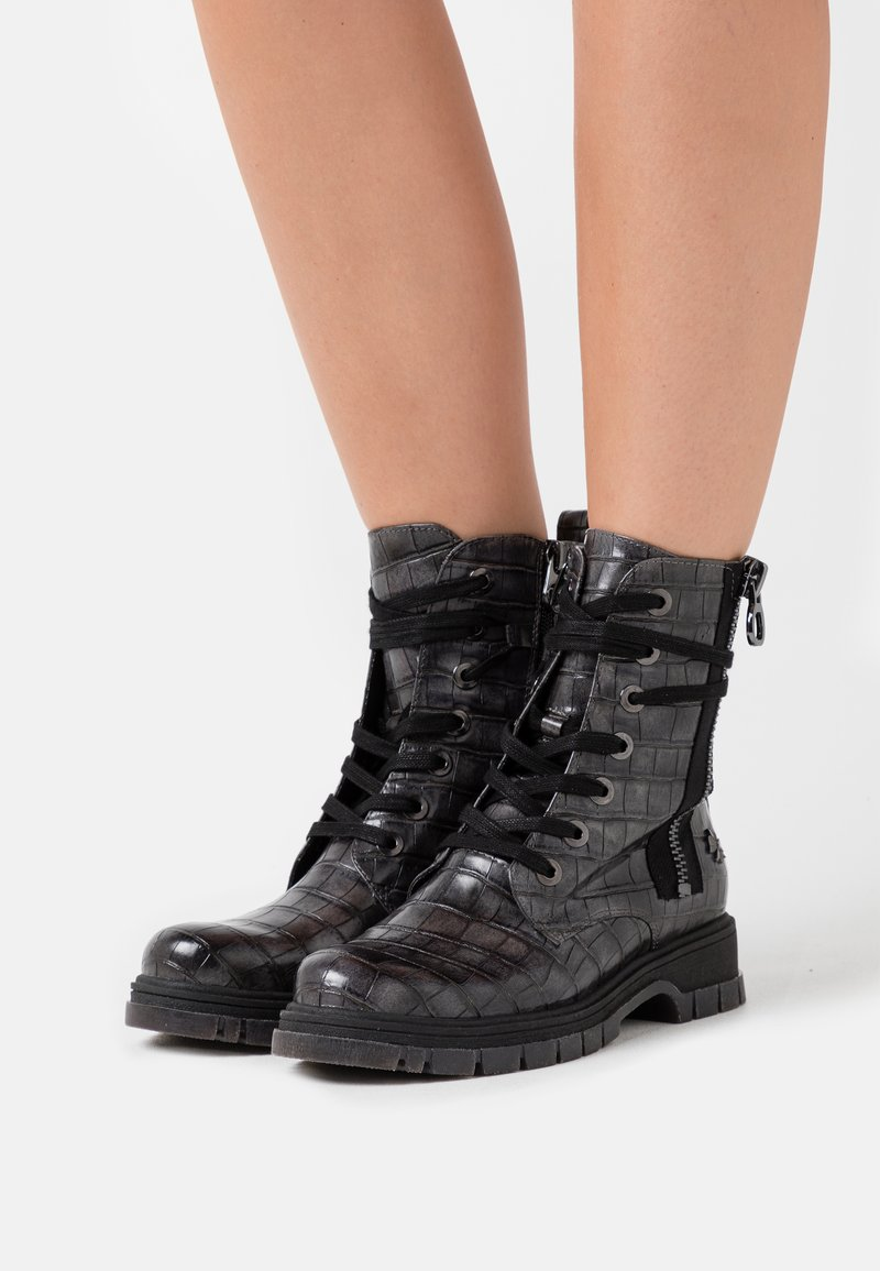 Marco Tozzi by Guido Maria Kretschmer - Lace-up ankle boots - dark grey