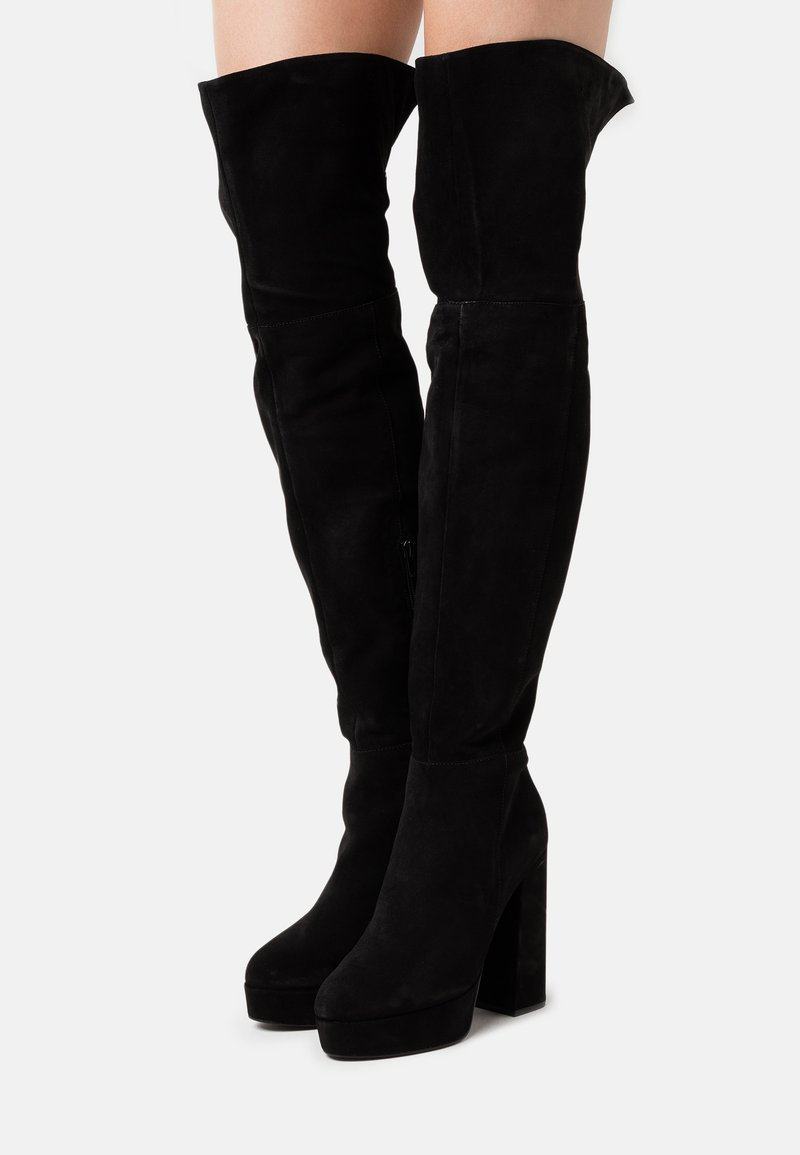 Even&Odd Wide Fit - LEATHER - High heeled boots - black