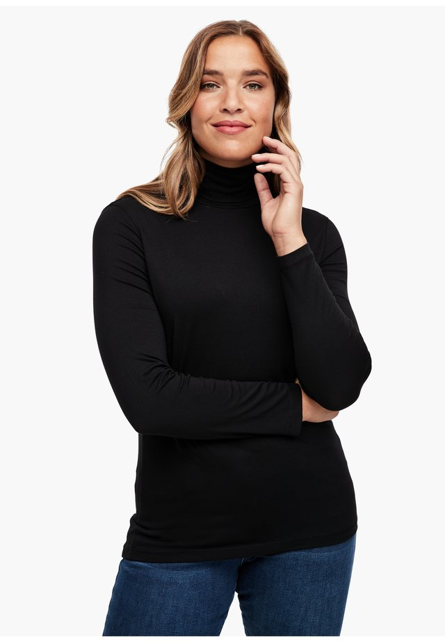 LONGSLEEVE MIT ROLLKRAGEN - Long sleeved top - black