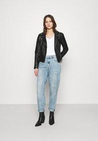Calvin Klein Jeans - MICRO BRANDING OFF PLACED VNECK - Basic T-shirt - bright white - 1
