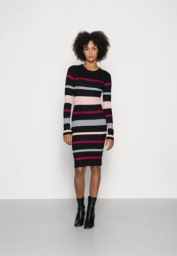 REGULAR FIT STRIPES DRESS - Jumper dress - black/red/pink