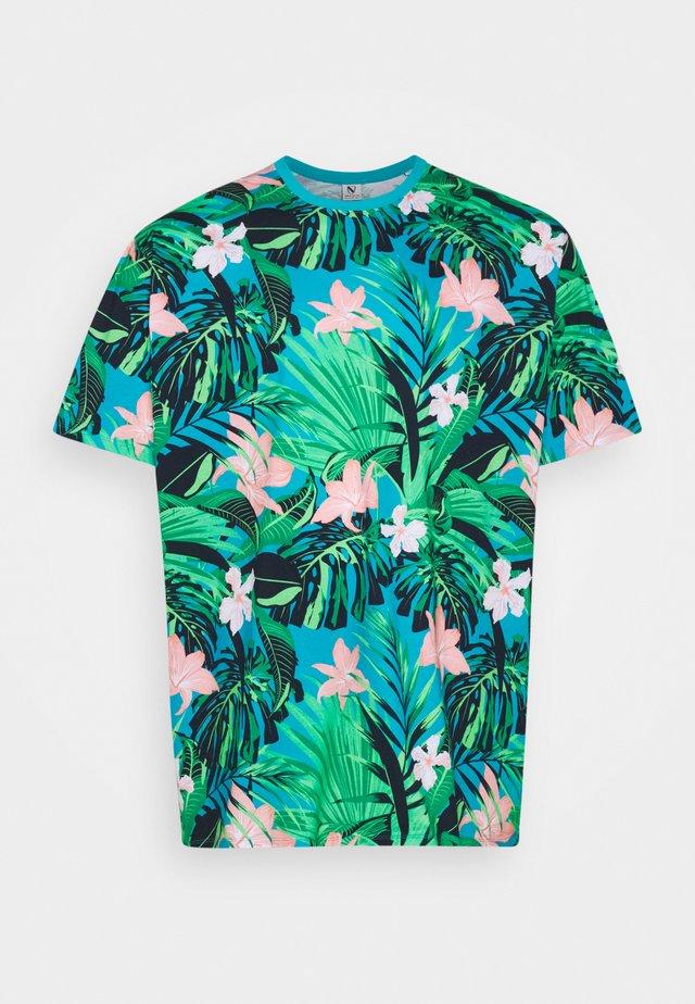 FLOWER TEE  - Print T-shirt - türkis