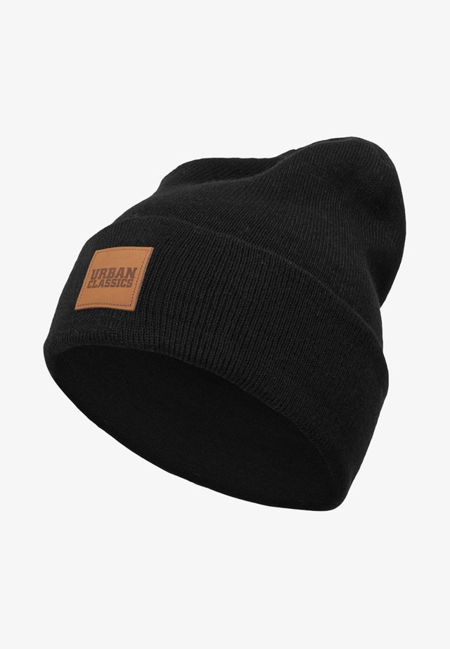 LEATHERPATCH LONG - Beanie - black