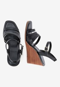 Next - TAN STRAPPY WOOD HEEL WEDGES - High heeled sandals - black - 2