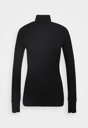 TURTLENECK  LONGSLEEVE FITTED IRREGULAR STRUCTURE - Long sleeved top - pure black