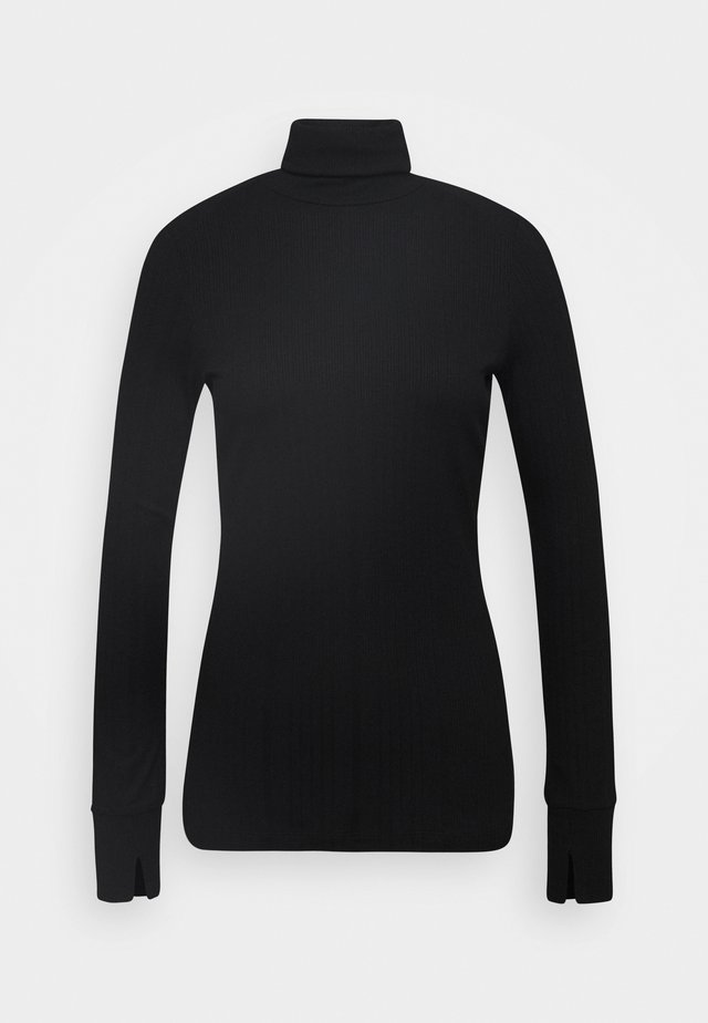 TURTLENECK  LONGSLEEVE FITTED IRREGULAR STRUCTURE - T-shirt à manches longues - pure black