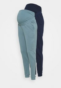 Anna Field MAMA - 2 PACK - REGULAR FIT JOGGERS - OVERBUMP - Tracksuit bottoms - dark blue/teal - 0