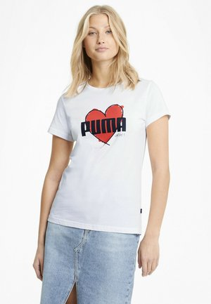 VALENTINE'S HEART  - Print T-shirt - puma white