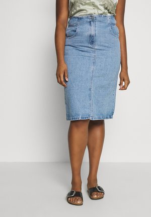 ELASTIC WAIST MIDI SKIRT - Pencil skirt - dark denim