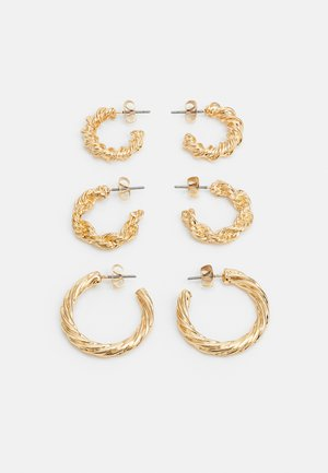 PCTEHANI HOOP EARRINGS 3 PACK - Øreringe - gold-coloured