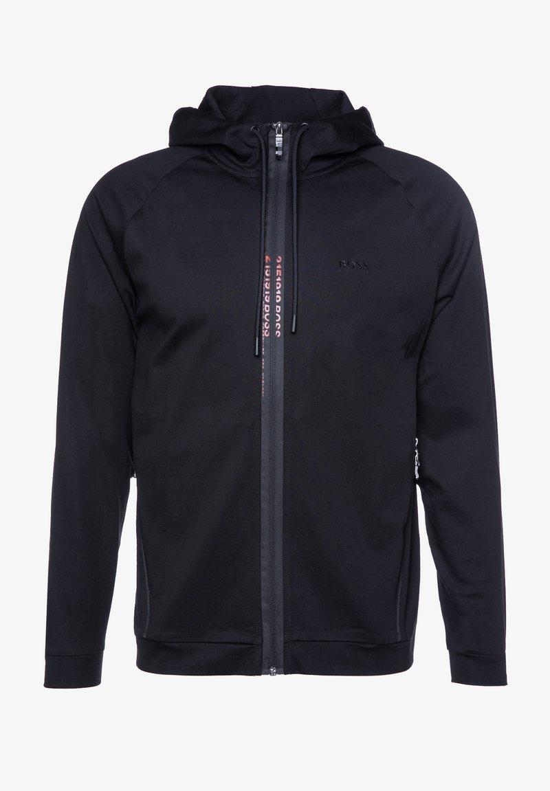 BOSS ATHLEISURE - SWOVEN - Zip-up hoodie - black