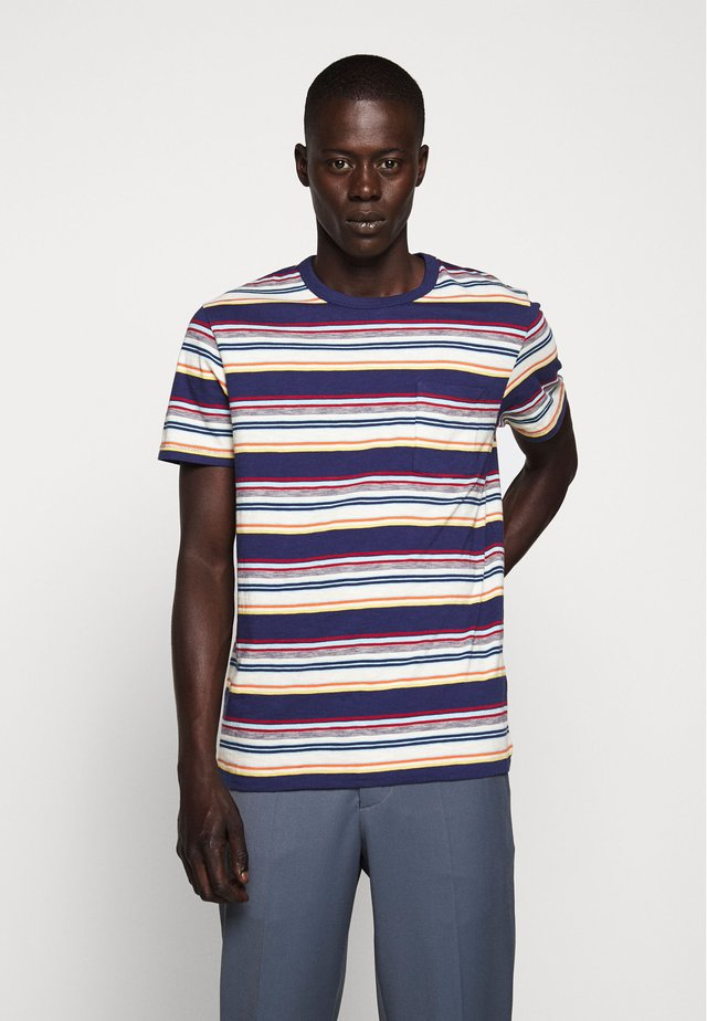 SLUB HORIZON STRIPE TEE - Print T-shirt - multi/navy horizon