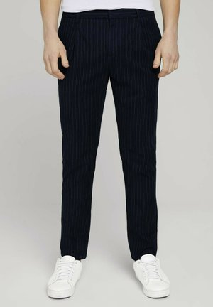 Trousers - navy pinstripe