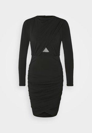 ELLA LONG SLEEVE WRAP BODICE DRESS - Shift dress - black