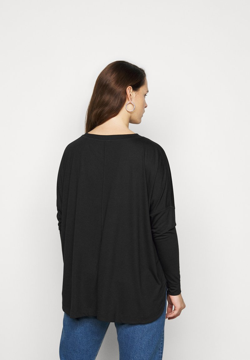CAPSULE by Simply Be - CURVED HEM LONG SLEEVE - T-shirt à manches longues - black