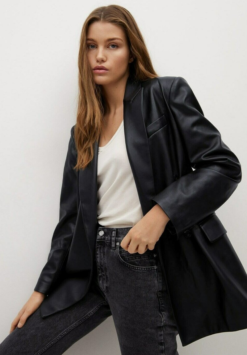 Mango - COMBI - Faux leather jacket - schwarz