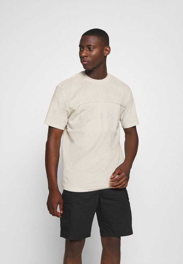 TOWELLING EMBRODIERY PANEL  - T-shirt - bas - beige