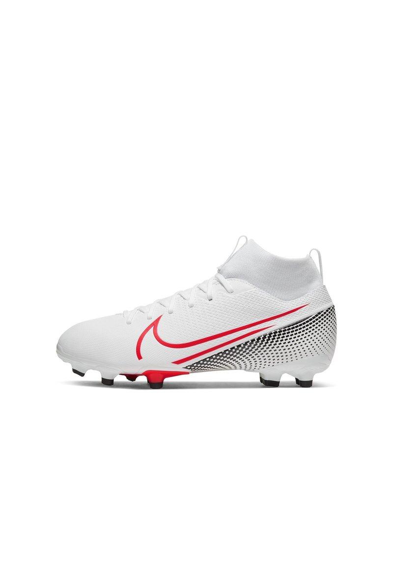 Nike Performance - MERCURIAL JR 7 ACADEMY FG/MG UNISEX - Moulded stud football boots - white/black/laser crimson