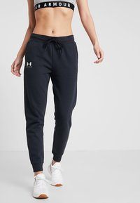 Under Armour - RIVAL SPORTSTYLE GRAPHIC PANT - Tracksuit bottoms - black/onyx white - 0