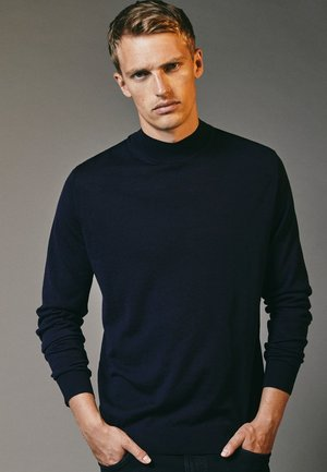 MIT GERIPPTEM STEHKRAGEN - Sweatshirt - blue-black denim