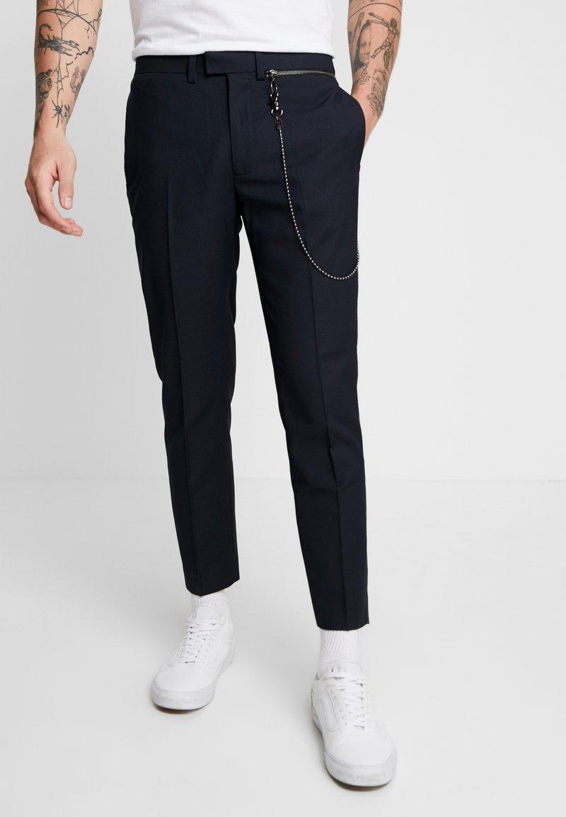 Topman - WEIST CHAIN - Trousers - navy