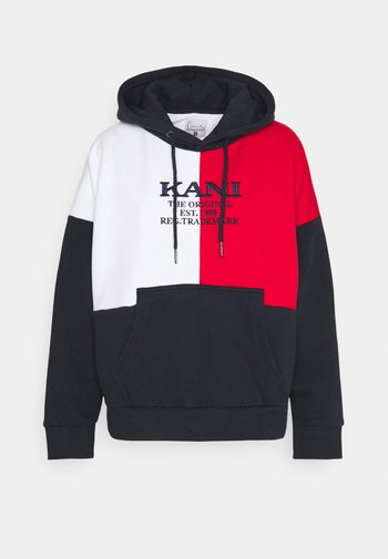 RETRO BLOCK HOODIE - Sweatshirt - navy