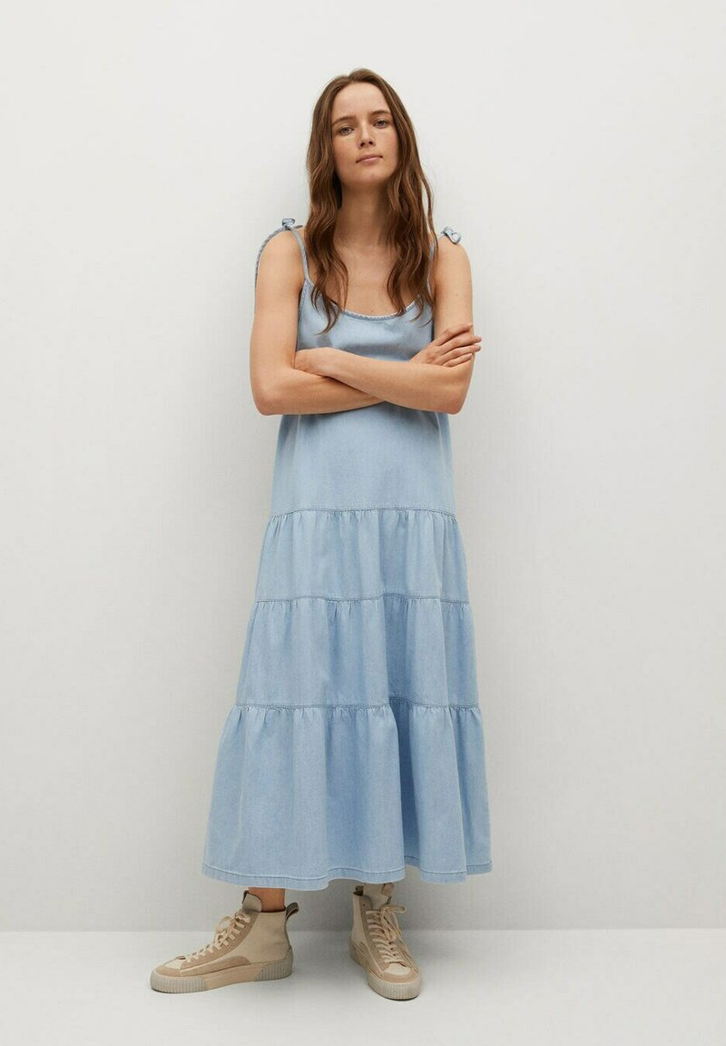 Mango - DALIA - Denimové šaty - halvblå