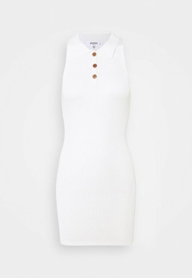 COLLAR BUTTON MINI DRESS - Etui-jurk - white