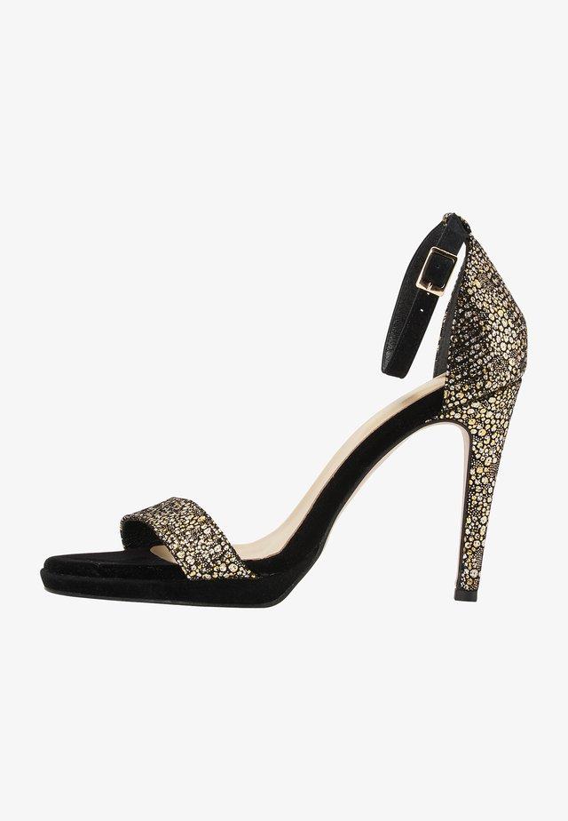 Sandalen met hoge hak - gold black
