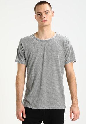 STRIPE BURN OUT - Print T-shirt - light olive