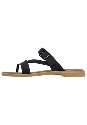 TULUM TOE POST - Badslippers - black/tan