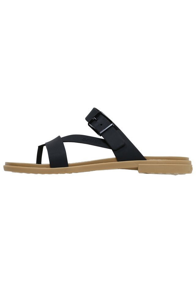 TULUM TOE POST - Sandały kąpielowe - black/tan