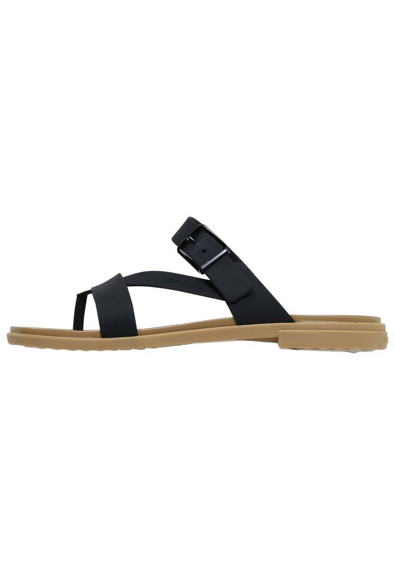 Crocs - TULUM TOE POST - Pool slides - black/tan