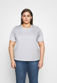 Selected Femme Curve - SLFPERFECT TEE BOX - Print T-shirt - arctic ice/snow white - 0