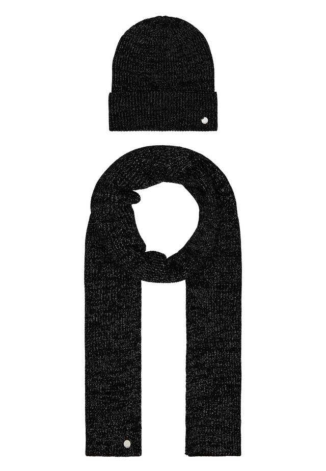 XMAS SET HAT SCARF - Huivi - black