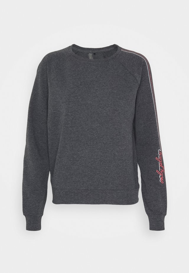 ONPJOLIVIA CREWNECK - Sweater - dark grey melange/white/coral